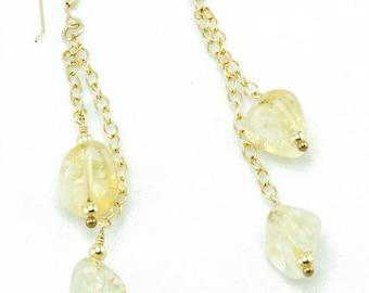 Citrine Earrings, Citrine and Chain Earrings, Citrine Jewelry, Long Modern Earrings, Citrine Drop Earrings, Golden Earrings