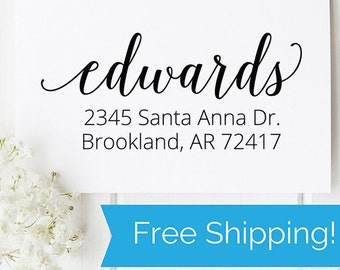 Return Address Stamp, self inking stamp, custom stamp, wedding gift, housewarming gift, mothers day gift, client gift, closing gift  (D202)