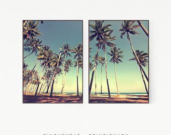 Set of 2 Prints Palm Trees Wall Decor Print Poster Tropical Beach Marine Retro Vintage Colour Photo Nature Sea Minimalist Blue Sky Leaf 1011