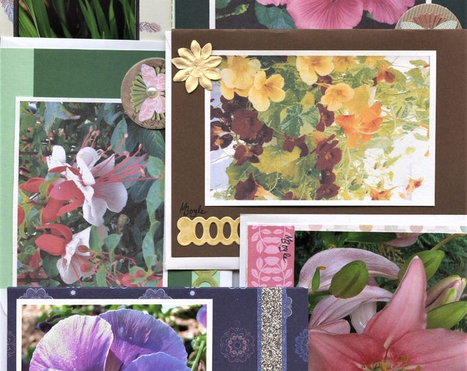 HAND MADE PHOTO Cards; set of six, blank cards, enhanced,garden flowers,4 x 5.5 inches,envelopes,columbine,lily,malva,nasturtiums,pansy,iris