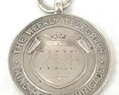 FREE POST - Antique Silver Fob, Sterling Medal, Perfect School Attendance, William James Dingley, Telegraph Kind Hearted Brigade, Unique