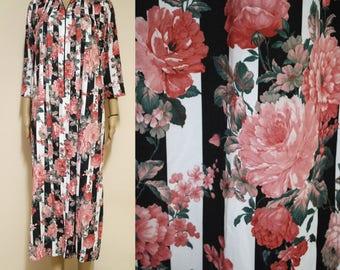 Vintage 70s Floral Dress Hippie Black White Stripes Retro Long Length Hippie Boho Vtg 1970s Size S-L
