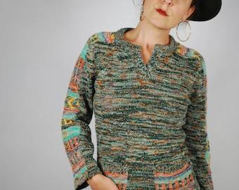 1970's Space Dye Sweater, 70's Boho Knit Sweater, Size- XS