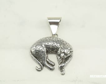 Vintage Sterling Silver 3D Leopard Pendant by Carol Felley Collectible Animal Cheetah