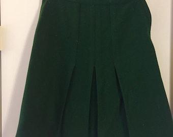 forest green aline wool skirt