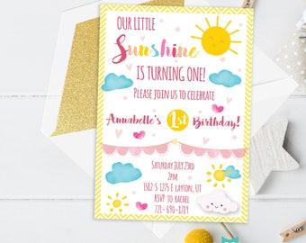 Little Sunshine invitation Printable - My only sunshine - Sunshine theme party - You are my sunshine - Sunshine party - Sunshine birthday