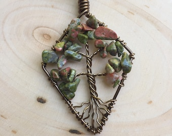 Tree of Life Necklace - Tree of Life Pendant - Hippie Jewelry - Boho Jewelry - Gemstone Jewellery - Handmade Gift for Her - FREE SHIPPING
