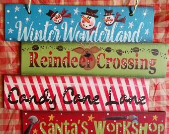 Christmas Decoration Tree Ornament Small Hanging Sign Snowman Reindeer  Candy Cane Santas Workshop Winter Wonderland Teacher Hostess Gift