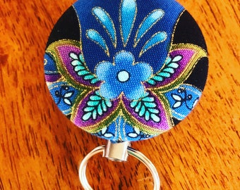 Fabric button retractable ID Card/Key Holder