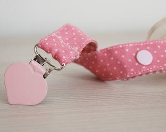 Japanese Pink Fabric Pacifier Clip, Soothie pacifier, Baby pacifier clip, Binky Clips, pacifier clip girl, Pacifier holder