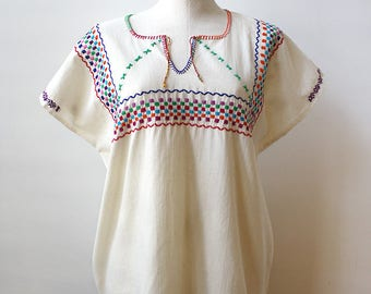 Mexican Huipil-Style Embroidered Blouse - Size Medium/Large
