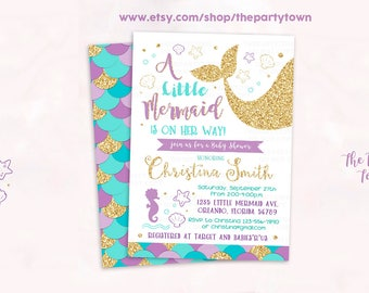 Mermaid Baby Shower Invitation, Little Mermaid Baby Shower Invitate, Whimsical Mermaid Under The Sea Baby Shower Invite Under The Sea Shower