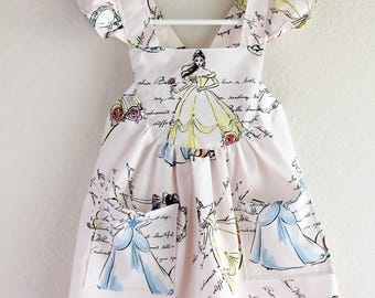Disney classic Princesses toddler dress/ girls disney dress/ cinderella girls dress / Snow White dress / belle disney dress / add headband