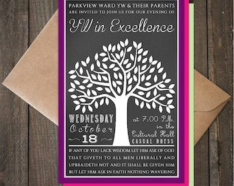 Young Women in Excellence 2017 Invitation, 4x6, Chalkboard Tree Typography, CUSTOMIZED Printable
