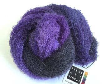 Hand Dyed Yarn | Kid Mohair Boucle Loop Yarn | Variegated Yarn in Purple and Gray | Knitting, Crochet Yarn | Weaving Yarn | Doll