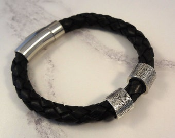 Braided Leather Bracelet with Sterling Silver Fingerprint Bead Charm(s) & Engraving