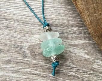 Sea glass necklace ombre beach glass pendant, sea foam, white sea glass Jewelry bohemian style, hippie boho gift woman, mermaids tears, teal