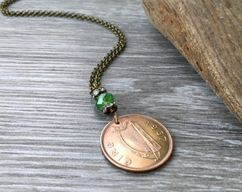 50th birthday gift, 1967 Irish coin necklace, Ireland long green pendant, anniversary, Celtic Jewelry present for her, woman, mum, wife,