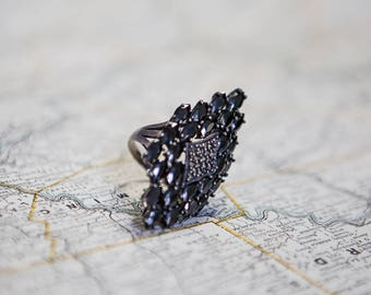 GORGEOUS Vintage Onyx sterling silver statement ring - 18g