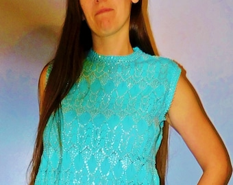 Vintage Sequin and Beaded Tank Top, Beaded Sleeveless Shirt, Retro Shirt, Hippie, Boho