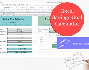 Easy Excel Savings Goal Calculator | Savings Calculator | Excel Template | Budget Planner