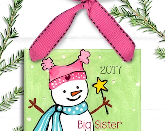 Big Sister Ornament - Personalized Christmas - Big Sister Gift - New Baby Ornament - Personalized Big Sister Little Sister - New Baby Gift
