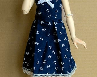 MSD BJD Dress {Dark blue with White Anchors}