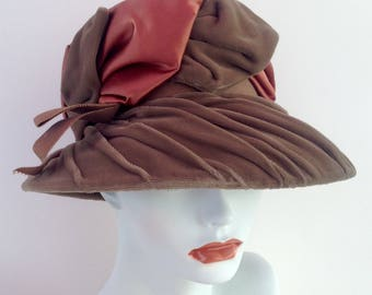 Velvet and Satin Hat Greenish Taupe Brown Accent