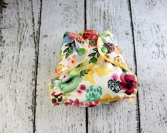 Newborn Cloth Diaper - Newborn AI2 Diaper - Newborn Diaper Cover - All In Two - Wild Flower Cloth Diaper - Floral Diaper - Newborn Diaper