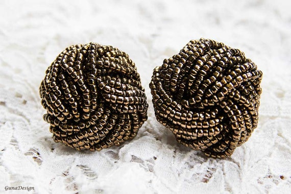 Vintage Brown Statement Clip-on Earrings