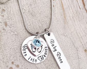 Born into heaven etsy miscarriage necklace loss of a baby stillbirth memorial necklace pregnancy loss mothers aloadofball Choice Image