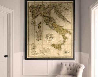 Italy Map Print : Vintage Stanford's 1859 Map of Italy - Vintage Italy Map - Giclee Italy Map Print