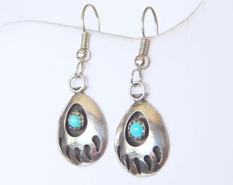 Vintage Sterling Silver And Turquoise Bear Claw Earrings - Ear Wire