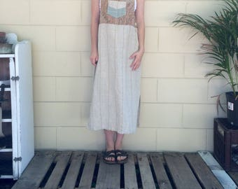 Vintage Cloth Overall Dress - Size S/M