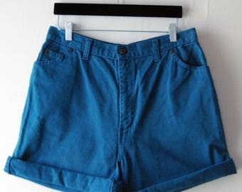1990's Denim Shorts // Cuffed Jean Shorts // Vintage Teal Denim Shorts // Plus Size // Size 16