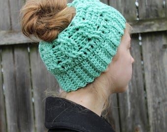 RTS Messy Bun Hat, Mint Green Ponytail Beanie, Ready to Ship, Aqua Cabled Handmade Crochet Messy Bun Beanie, Turquoise Knit Pony tail Hat