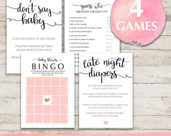 Baby Shower Games Package, Pink Baby Shower Games, Printable Games, Baby  Shower Card