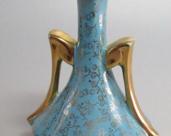 Vintage USA Small Porcelain Vase Amphore 22K Gold on Blue Base