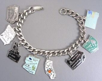 Vintage Enamel State Charm Bracelet
