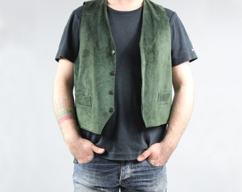 Vintage PLUS SIZE Green Suede Vest Retro Grunge Button Up Waistcoat 80s Khaki Men's Genuine Leather Sleeveless Jacket Steampunk Gilet . XL
