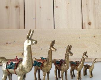 Vintage brass Llama / Alpaca figurines set of 5