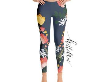 Leggings - printed leggings - Exercise leggings - Yoga Pants Exercise - Womens Fun Print Leggings - floral leggings - Women's Leggings -
