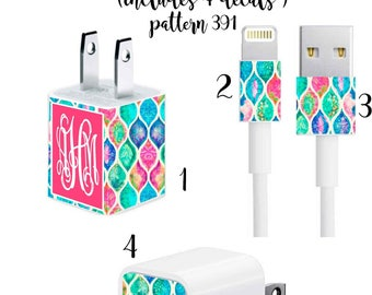 Iphone Charger Wrap, Monogram Iphone charger decal in Pattern 391