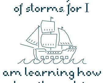 Little Women Ship Quote Sampler Cross Stitch Chart - PDF - Instant Download