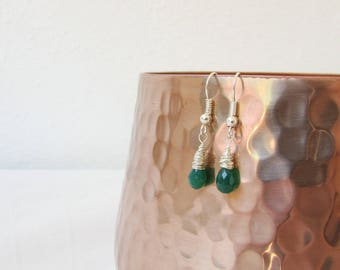 Green Onyx earrings, lightweight drop earrings, wire wrapped earrings, semi precious gemstone, small dangle earrings, handmade in the UK