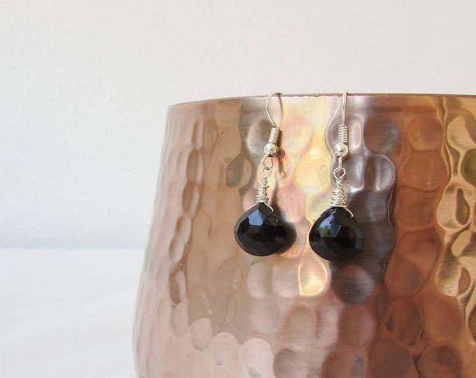 Black spinel earrings, handmade in the UK