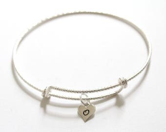 Sterling Silver Bracelet with Sterling Silver O Letter Heart Charm, Silver Tiny Stamped O Initial Heart Charm Bracelet, O Charm Bracelet