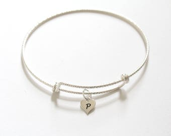Sterling Silver Bracelet with Sterling Silver P Letter Heart Charm, Silver Tiny Stamped P Initial Heart Charm Bracelet, P Charm Bracelet