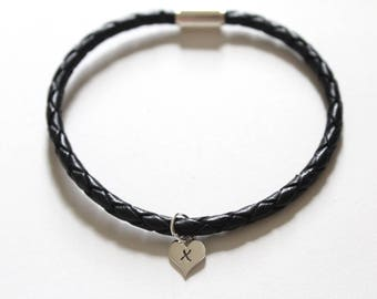 Leather Bracelet with Sterling Silver X Letter Heart Charm, Silver Tiny Stamped X Initial Heart Charm Bracelet, Letter X Charm Bracelet, X