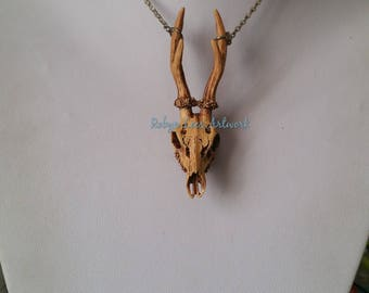 Large Antiqued 3D Resin Stag Deer Skull & Antlers Pendant Necklace on Silver, Bronze or Gunmetal Crossed Chain. Gothic, Anatomical, Costume